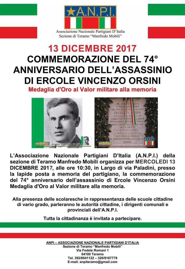Teramo, l'Anpi commemora l'assassinio di Ercole Vincenzo Orsini