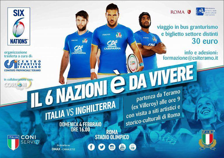 """Rugby, il Csi aderisce a """"Il 6 Nazioni è tutto da vivere"""""""