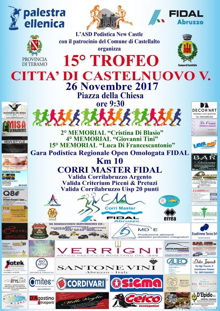 """Castellalto, arriva la 15esima edizione della gara podistica """"Città di Castelnuovo Vomano"""""""