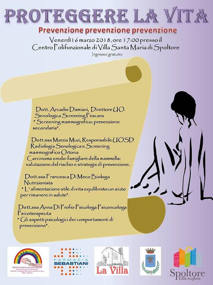 """A Spoltore, """"Proteggere la vita"""": incontro sulla prevenzione del tumore al seno"""