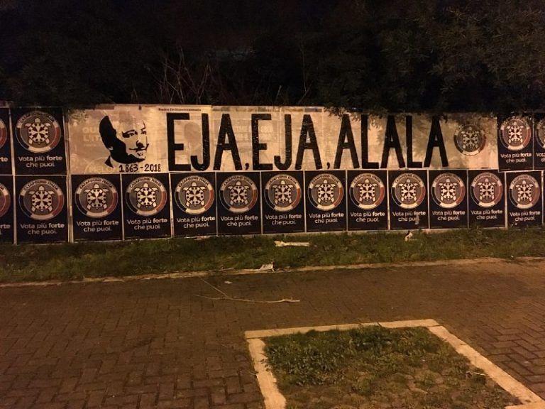 Pescara, Casapound Italia celebra con uno striscione l'anniversario di Gabriele D'Annunzio