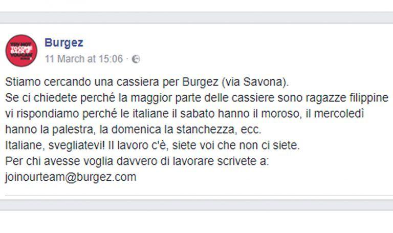 """Polemiche sull'annuncio del fast food: """"Italiane il lavoro c'è, voi no"""""""