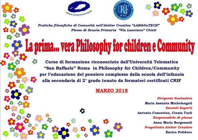 Chieti, al via i corsi di formazione 'Philosophy for children' all'Istituto Comprensivo 3