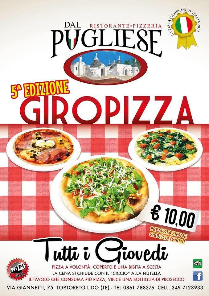 Ristorante-Pizzeria Dal Pugliese: continua la quinta edizione del giro di pizza| Tortoreto