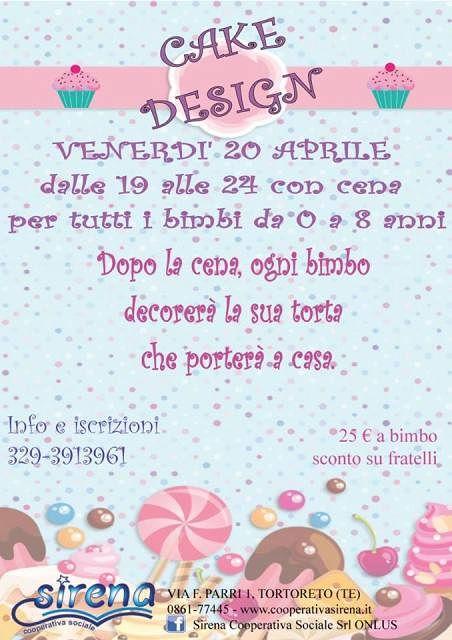 Nido Sirena: Serata di Cenerentola con tema Cake Design venerdì 20 Aprile| Tortoreto