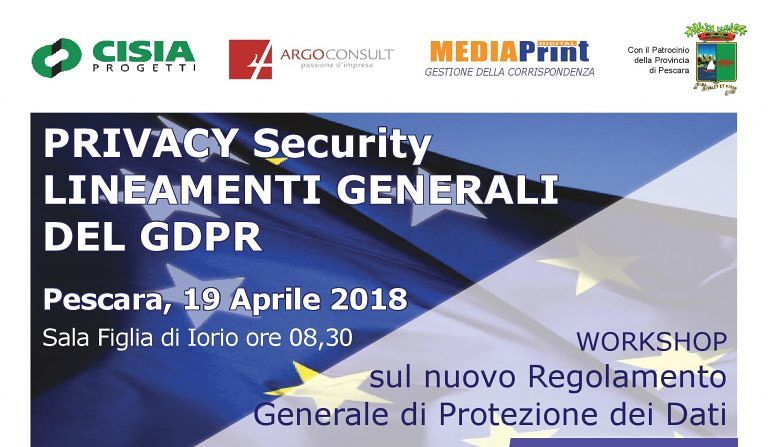 Provincia Pescara, workshop su nuovo Regolamento di Protezione Dati (GDPR)