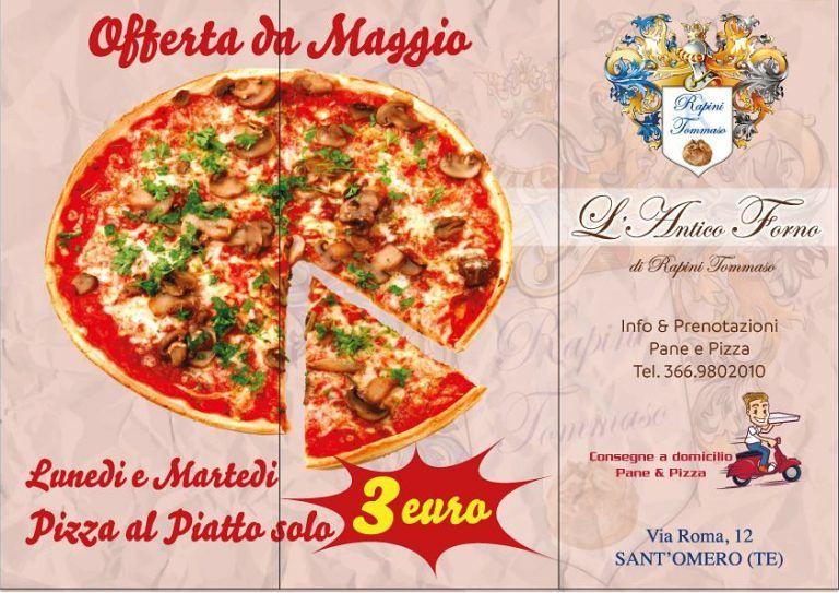 Antico Forno: Dal 1 Maggio ogni lunedì e martedì pizza al piatto a 3 euro  Sant'Omero