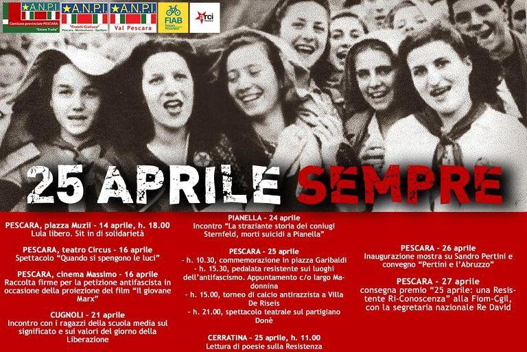 Pescara, 25 aprile: le iniziative di Anpi