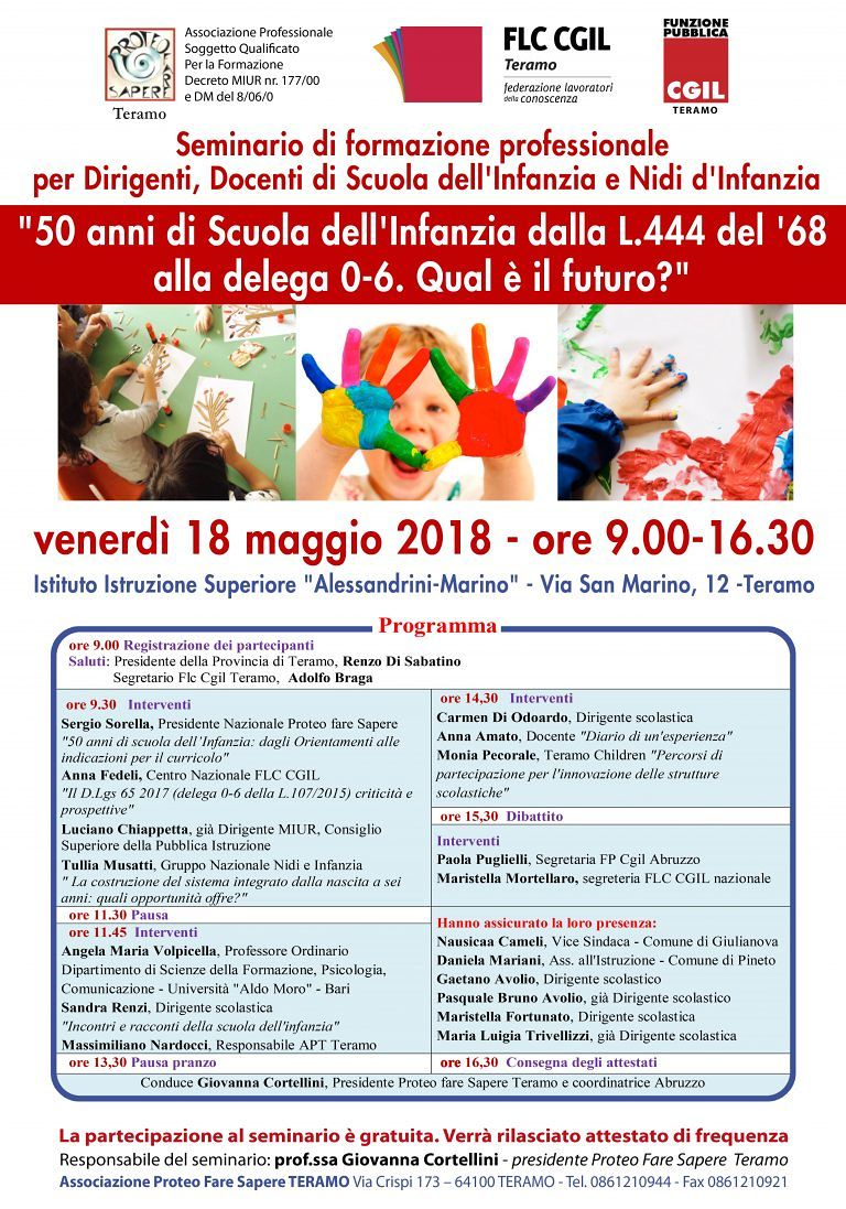Teramo, 50 anni della scuola dell'infanzia: seminario di formazione professionale