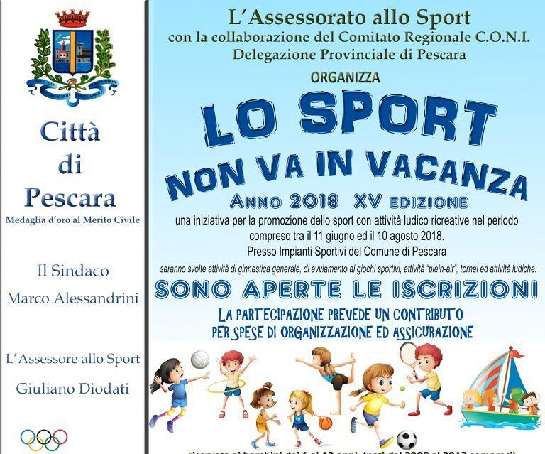 Pescara, torna 'Lo Sport non va in vacanza'. Iscrizioni aperte