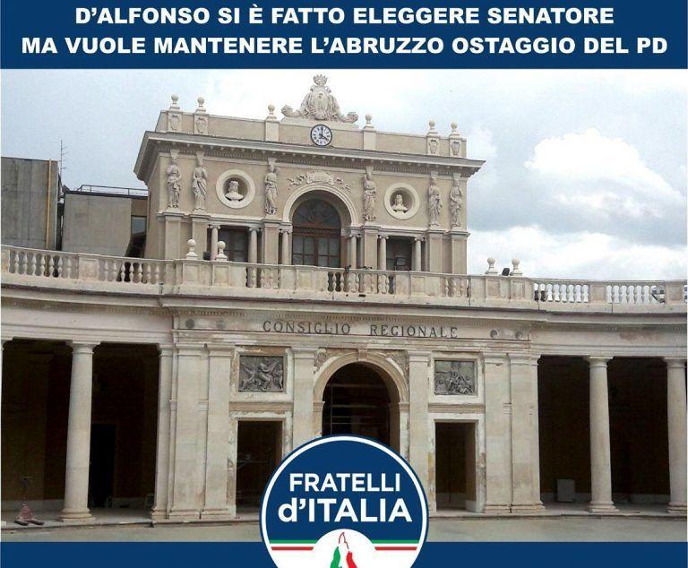 Raccolta di firme per chiedere le dimissioni di D'Alfonso: parte l'iniziativa di FdI in Abruzzo