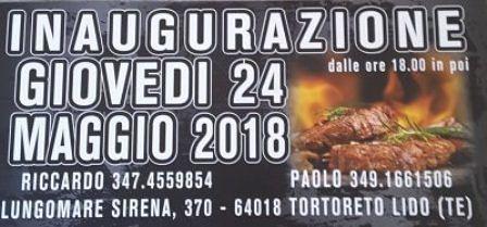 LA TARTARUGA STEAK HOUSE: INAUGURAZIONE NUOVO LOCALE GIOVEDI' 24 MAGGIO  Tortoreto