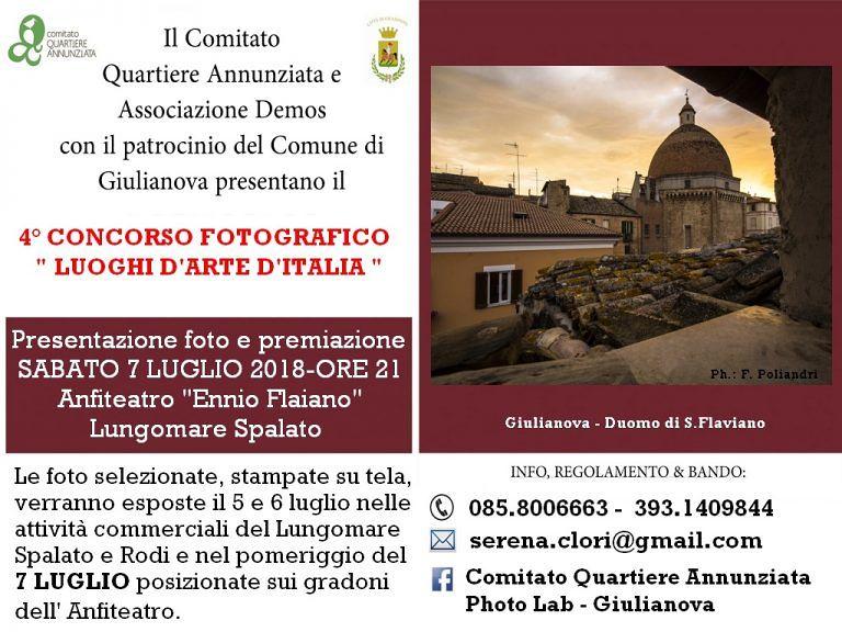 """Giulianova, """"Luoghi d'arte d'Italia"""": il quarto concorso fotografico organizzato dal Comitato di Quartiere Annunziata"""
