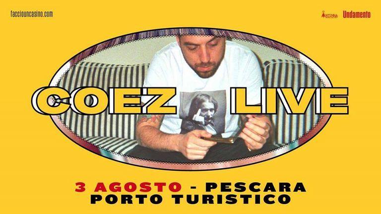 Tra le date del tour estivo, Coez sbarca a Pescara il 3 agosto