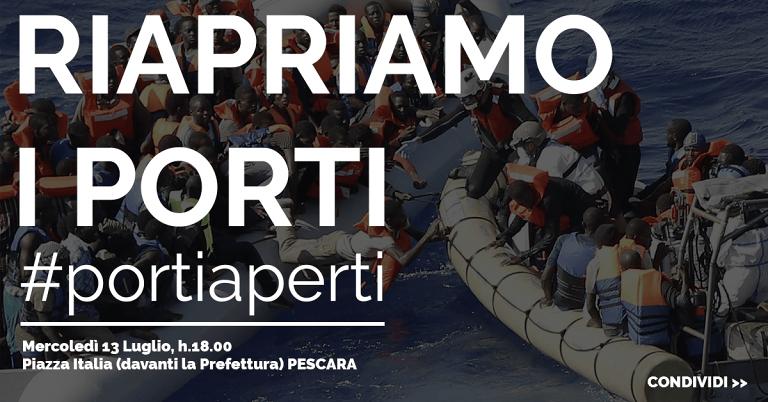#PortiAperti: sit-in in Piazza Italia a Pescara per sostenere l'accoglienza ai migranti