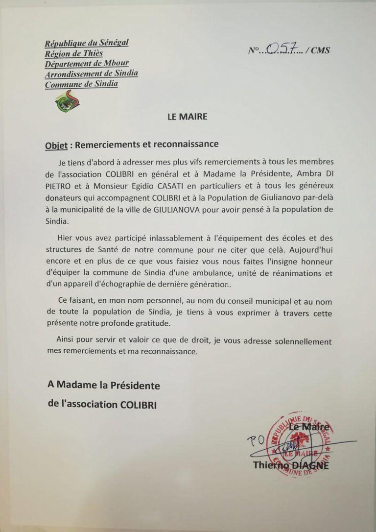 Giulianova, Comune del Senegal scrive lettera di ringraziamento al Colibrì
