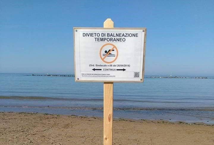 Giulianova, divieto di balneazione sulla spiaggia a nord della foce del Tordino