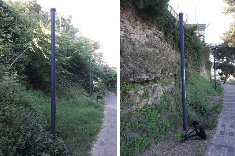 Montesilvano, 3 lampioni led appena installati rotti dai vandali