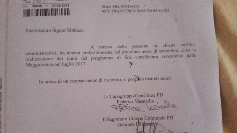 Giulianova, PD chiede al sindaco una verifica della maggioranza