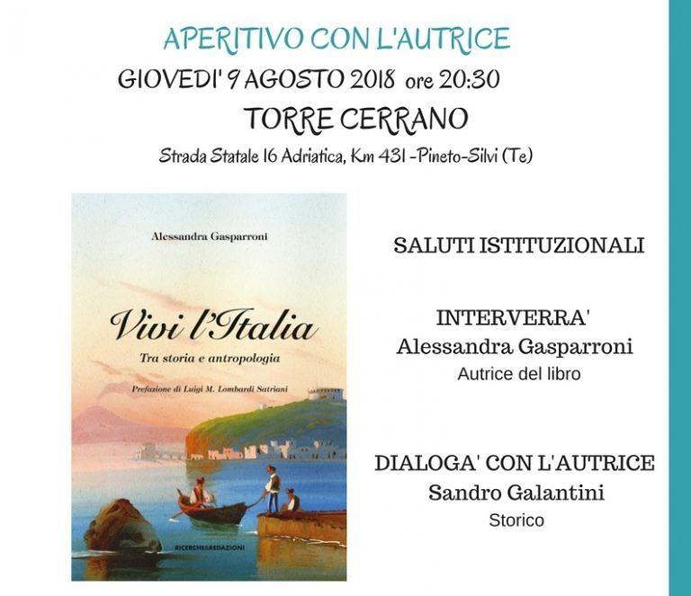 """Pineto, l'antropologa Alessandra Gasparroni presenta il suo libro """"Vivi l'Italia"""""""