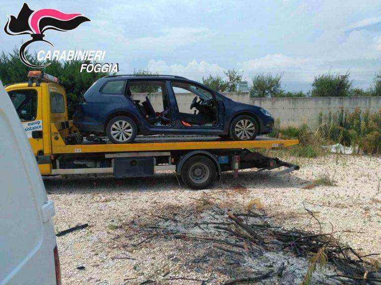 Auto rubata a Tortoreto viene recuperata (in parte smontata) a Cerignola