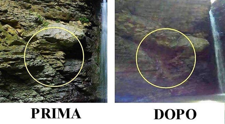 Abbateggio, frana alla cascata: divieto d'accesso al Cusano FOTO