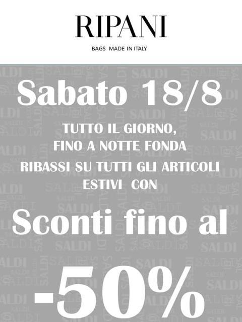 Ripani: sabato 18 agosto sconti fino al 50% presso Ripani Bags di San Benedetto del Tronto