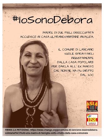 #IoSonoDebora: solidarietà alla madre di famiglia sotto sfratto dal Comune di Lanciano