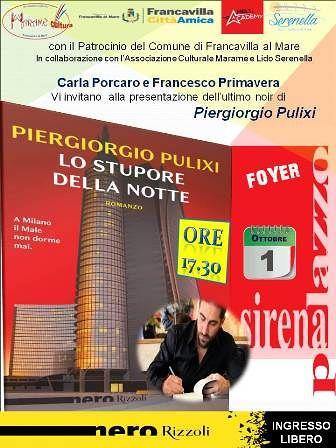 Francavilla, al foyer del palazzo Sirena la presentazione del libro di Piergiorgio Pulixi