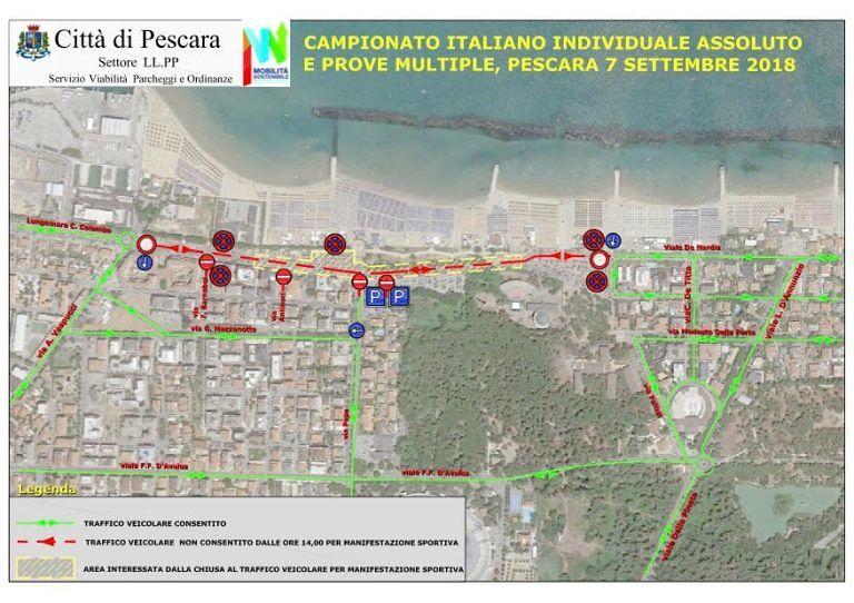 Pescara, campionati di atletica: lungomare sud bloccato per la marcia LA MAPPA