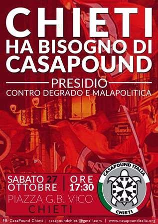 Chieti: CasaPound Italia all'attacco di amministrazione comunale ed opposizioni