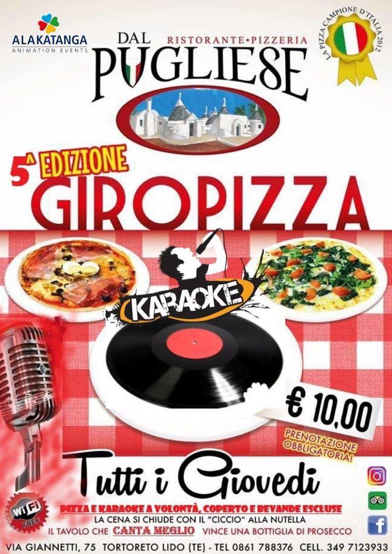 Dal 15 novembre DAL PUGLIESE Ristorante Pizzeria  RIPARTE OGNI GIOVEDÌ' dalle ore 20:00,  IL GIRO PIZZA!