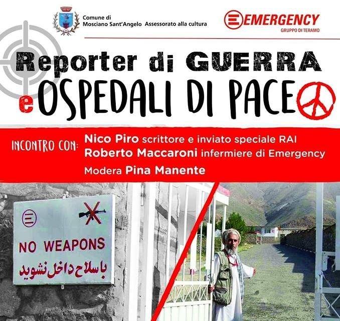 Mosciano, incontro di Emergency con il reporter di guerra della Rai Nico Piro