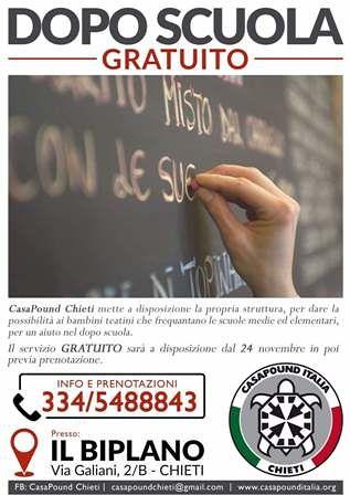 Ripetizioni gratuite e doposcuola nella sede di CasaPound Chieti