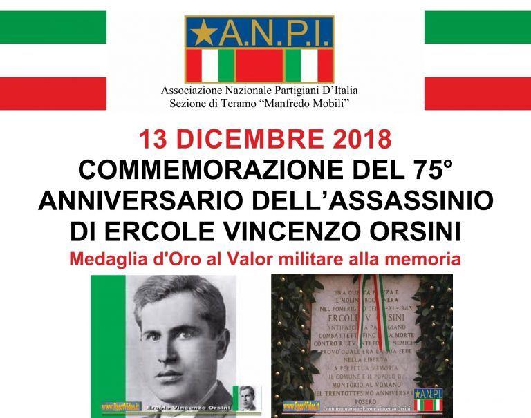 L'ANPI Teramo ricorda Ercole Vincenzo Orsini