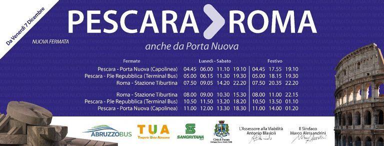 Pescara, a Porta Nuova la fermata degli autobus per Roma