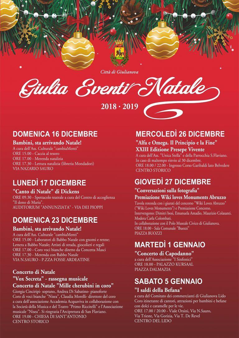 Giulia Eventi Natale: dal 16 dicembre al 6 gennaio musica, teatro, sport, cultura, visite guidate e iniziative per i più piccoli