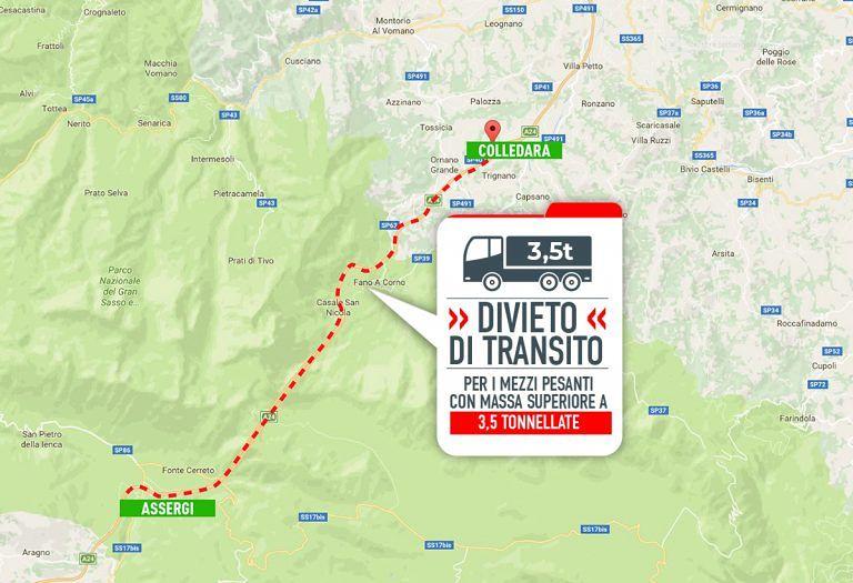 A24, divieto di transito per mezzi pesanti nella tratta Assergi-Colledara San Gabriele