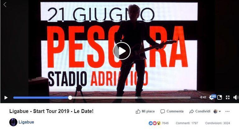 Ligabue torna in concerto a Pescara VIDEO