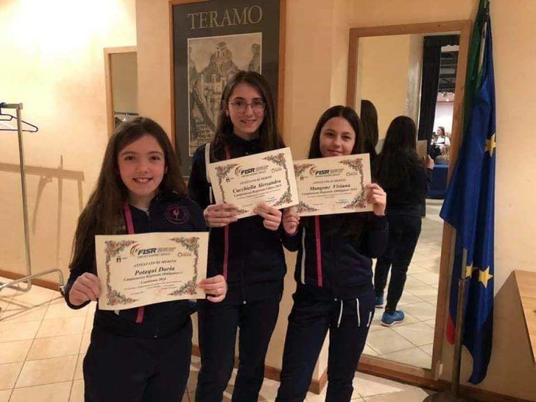 La Federazione premia tre giovanissime della Pattinaggio Giulianova e L'Aquila