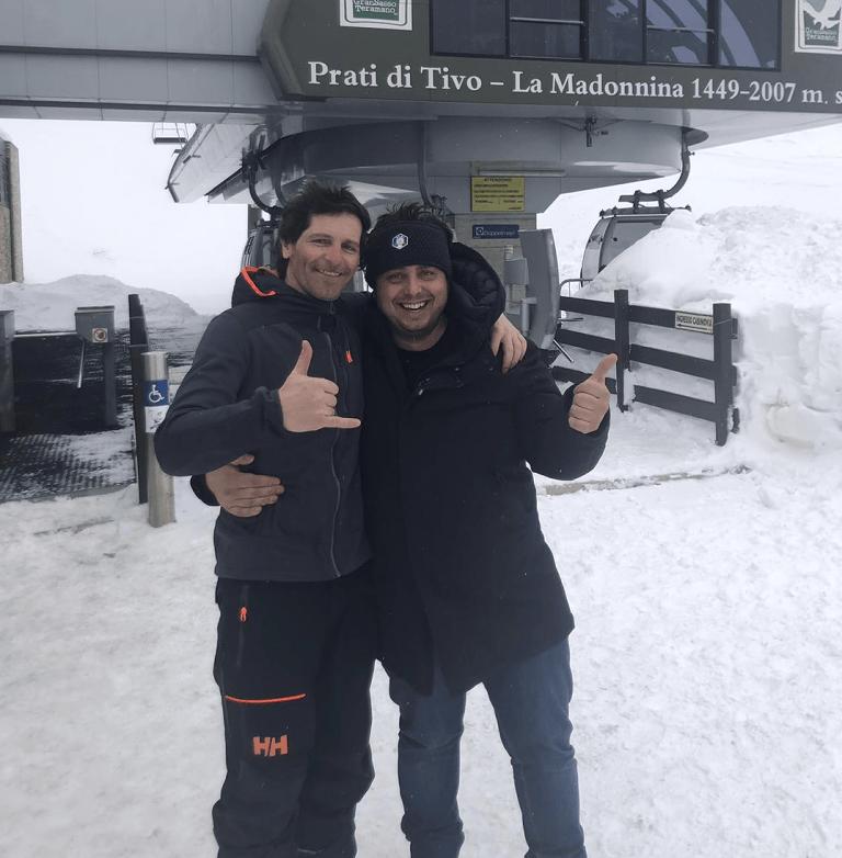 Il maestro di sci Lorenzo Alesi in visita ai Prati di Tivo