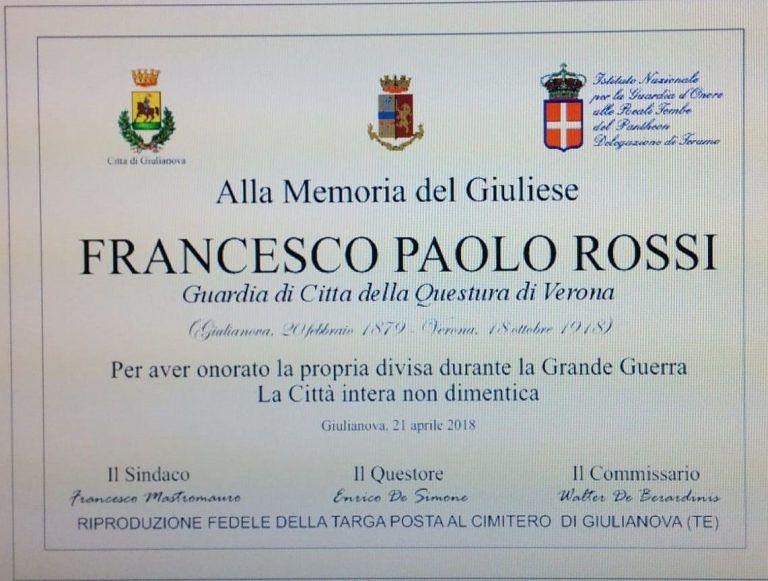 Giulianova, targa dedicata all'agente Rossi consegnata ai Questori di Teramo e Verona