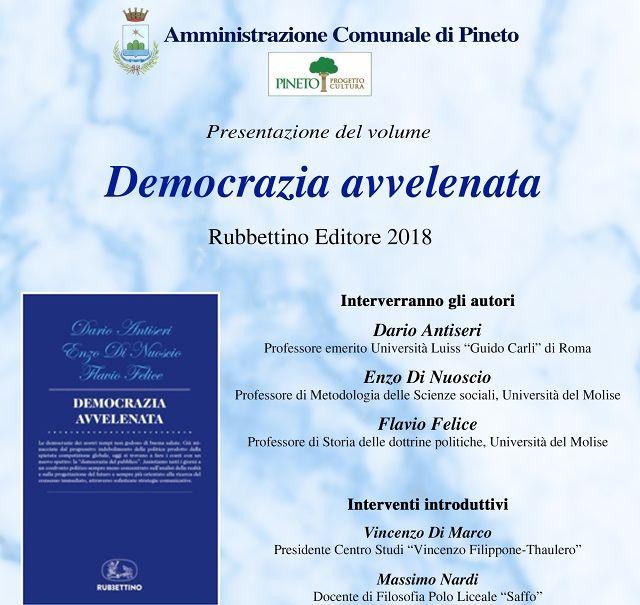 """Pineto, in Villa Filiani la presentazione del volume """"Democrazia avvelenata"""""""