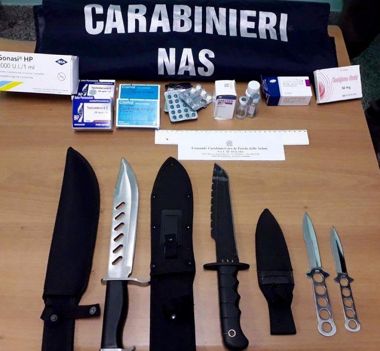 Anabolizzanti e coltelli da Rambo: denunciato giovane del pescarese
