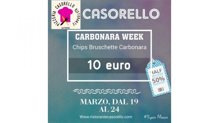 da CASORELLORistorante parte la 'CARBONARA WEEK' Chips, Bruschette e Carbonara € 10,00 fino al 24 marzo