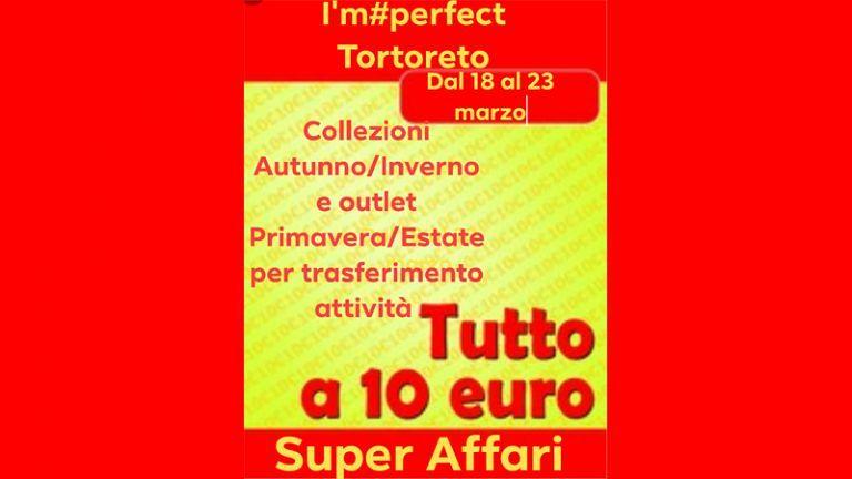 I'm perfect Curvy Store Dal 18 al 23 marzo Collezioni A/I 2018 e outlet P/E tutto a € 10,00 per trasf. attività