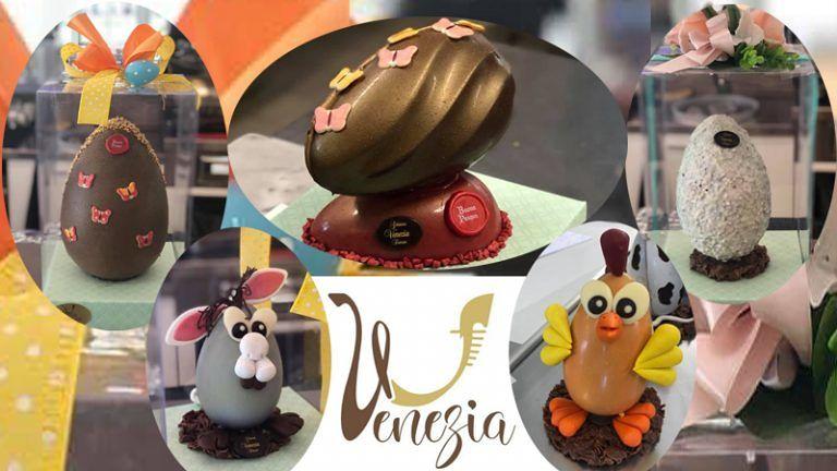 GELATERIA VENEZIA Uova Pasquali artigianali con i migliori cioccolati del mondo Decorate a mano