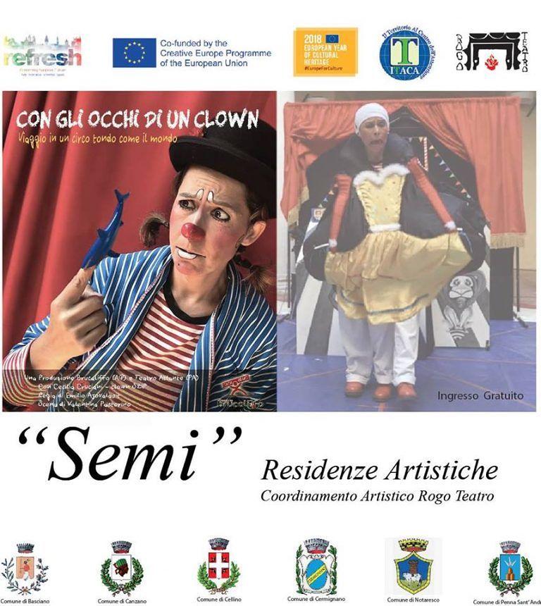 """A Penna Sant'Andrea, """"Con gli occhi di un clown"""": lo spettacolo nel Centro Visite Castel Cerreto"""