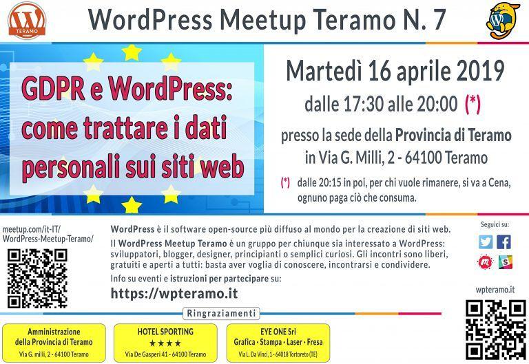 Teramo, WordPress Meetup: il settimo appuntamento è sul GDPR