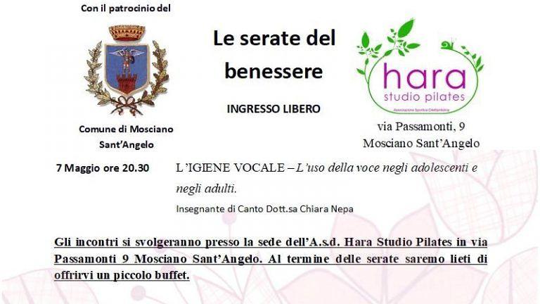 MART 7 MAGGIO Studio Hara Pilates 'LE SERATE DEL BENESSERE' L'IGIENE VOCALE L'uso della voce negli adolescenti e negli adulti